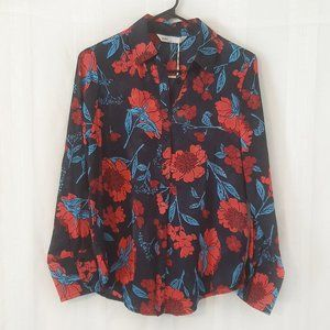 NWT Zara Floral Button Down Blouse Red/Blue S